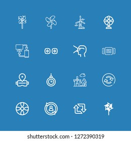 Editable 16 rotation icons for web and mobile. Set of rotation included icons line Windmill, Retweet, Rotate, Propeller, Reload, Hypnosis, Virtual reality, Rotating on blue background