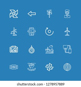 Editable 16 rotation icons for web and mobile. Set of rotation included icons line Refund, Windmill, Vr, Rotating, Sync, Hypnosis, Panoramic view, Rotate, Tilt on blue background