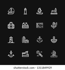 Editable 16 sailing icons for web and mobile. Set of sailing included icons line Windsurfing, Parasailing, Yatch, Anchor, Travel, Lighthouse, Jet ski, Transport on black background
