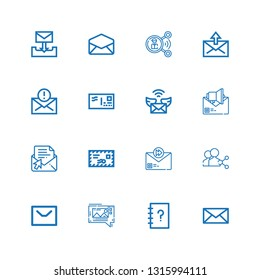 Editable 16 send icons for web and mobile. Set of send included icons line Mail, Contacts, Mms, Message, Share, Email, Envelope on white background