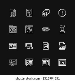 Editable 16 software icons for web and mobile. Set of software included icons line Css, Browser, Malware, Jpeg, Personal computer, Strategy, Augmented reality on black background