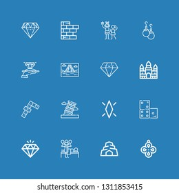 Editable 16 stone icons for web and mobile. Set of stone included icons line Pendant, Cave, Massage, Diamond, Domino, Pisa, Dominoes, Angkor wat, Mayan pyramid on blue background