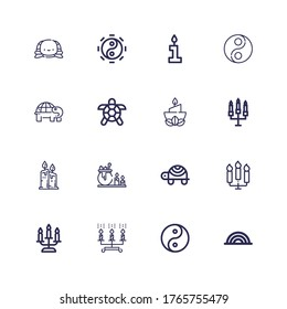 Editable 16 symbolic icons for web and mobile. Set of symbolic included icons line Rainbow, Yin yang, Candles, Candle, Turtle, Taoism on white background