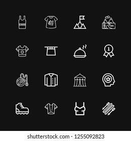Editable 16 top icons for web and mobile. Set of top included icons line Skii, Shirt, Climbing, Favorite, Circus, Cardigan, Yoyo, Quality, Salver, Magic hat on black background