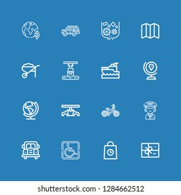 Editable 16 transport icons for web and mobile. Set of transport included icons line Package, Delivery, Parking, Bus, Pilot, Bicycle, Car, Earth, Globe, Yatch on blue background