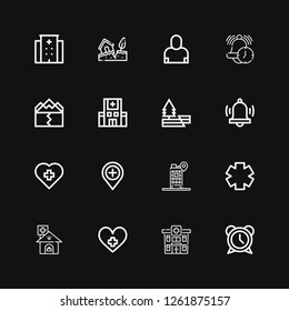 Editable 16 urgency icons for web and mobile. Set of urgency included icons line Alarm, Hospital, Clinic, Earthquake, Salesman on black background