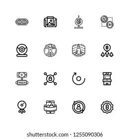 Editable 16 virtual icons for web and mobile. Set of virtual included icons line Bitcoin, Rotate, Panoramic, Webcam, Arcade game, Vpn, Virtual reality, Transhumanism on white background