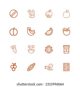 Editable 16 vitamin icons for web and mobile. Set of vitamin included icons line Pills, Pill, Peas, Blueberry, Medicine, Dragon fruit, Lemon, Carrot, Coconut on white background