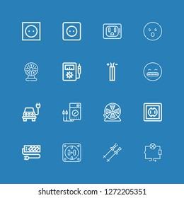 Editable 16 volt icons for web and mobile. Set of volt included icons line Wiring, Poles, Socket, Wire, Voltmeter, Electric, Shocked, Tesla ball on blue background