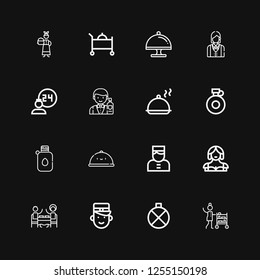 Editable 16 waiter icons for web and mobile. Set of waiter included icons line Room service, Canteen, Bellboy, Restaurant, Waitress, Tray, Salver, Barman, Servant on black background
