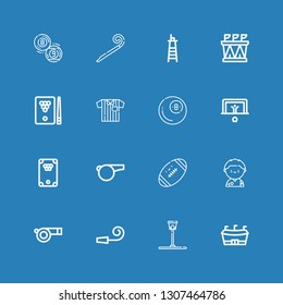 Editable 16 whistle icons for web and mobile. Set of whistle included icons line Football, Funnel ball, Party whistle, Soccer player, Billiard, Penalty on blue background