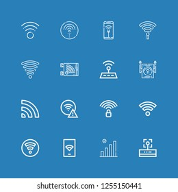 Editable 16 wi icons for web and mobile. Set of wi included icons line Wifi, Wifi signal, Hotspot on blue background