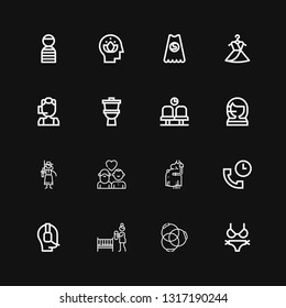 Editable 16 woman icons for web and mobile. Set of woman included icons line Bikini, Ponytail, Mother, Operator, Support, Pregnant, Couple, Cowgirl, Call center on black background