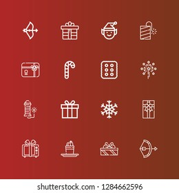 Editable 16 xmas icons for web and mobile. Set of xmas included icons line Bow, Gifts, Pudding, Gift, Gift box, Snowflake, Fireworks, Cracker, Candy cane, Gift card, Petard on red