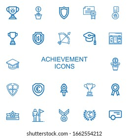 Editable 22 achievement icons for web and mobile. Set of achievement included icons line Trophy, Growth, Shield, Certificate, Medal, Archery, Mortarboard, Topping on white background