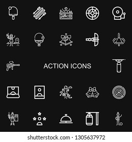 Editable 22 action icons for web and mobile. Set of action included icons line Table tennis, Skii, Paintball, Radar, Alarm bell, Bell, Crossbow, Punching bag on black background