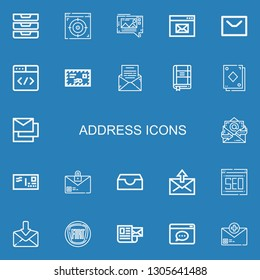 Editable 22 address icons for web and mobile. Set of address included icons line Inboxes, Browser, Mms, Message, Mail, Contact list, Card, Messages, Email, Envelope on blue background