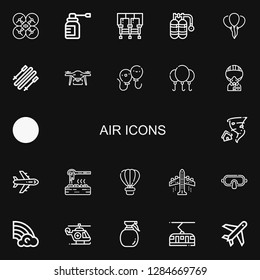Editable 22 air icons for web and mobile. Set of air included icons line Drone, Spray, Seats, Oxygen, Balloon, Skii, Balloons, Military, Kite, Tornado, Airplane on black background