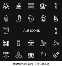 Editable 22 ale icons for web and mobile. Set of ale included icons line Beers, Beer, Hop on black background