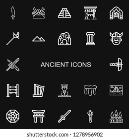 Editable 22 ancient icons for web and mobile. Set of ancient included icons line Sabre, Shogun, Chichen Itza, Torii, Arch, Sword, Pyramid, Cave, Column, Viking on black background