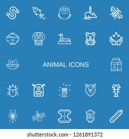 Editable 22 animal icons for web and mobile. Set of animal included icons line Worm, Fish, Macaw, Rat, Moth, Bowl, Dog, Duck, Teddy bear, Juggling ball, Nest on blue background