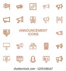 Editable 22 announcement icons for web and mobile. Set of announcement included icons line Megaphone, Noise, Loudspeaker, Placard, Billboard, Audio, Announcer on white background