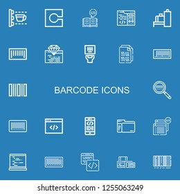 Editable 22 barcode icons for web and mobile. Set of barcode included icons line Scan, Code, Coding, Scanner, Barcode on blue background