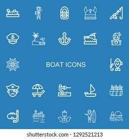 Editable 22 boat icons for web and mobile. Set of boat included icons line Boating, Pirate, Inflatable boat, Viking, Fishing, Captain, Sea, Anchor, Yatch, Rudder on blue background