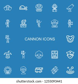 Editable 22 cannon icons for web and mobile. Set of cannon included icons line Pirates, Pirate, Clown, Cannon, Nunchaku on blue background