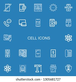 Editable 22 cell icons for web and mobile. Set of cell included icons line No phone, Smartphone, Prisoner, Platelet, Phone call, Responsive, Proteins, Mms, Atom on blue background