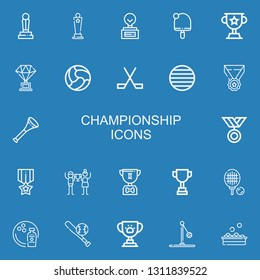 Editable 22 championship icons for web and mobile. Set of championship included icons line Trophy, Award, Table tennis, Ball, Ice hockey, Medal, Vuvuzela, Triumph on blue background