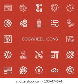 Editable 22 cogwheel icons for web and mobile. Set of cogwheel included icons line Settings, Gear, Engineer, Cogwheel, Configuration, Setting on red background