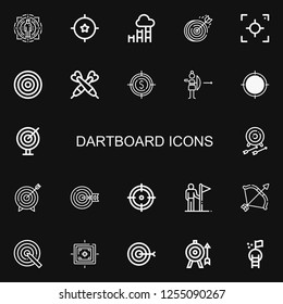 Editable 22 dartboard icons for web and mobile. Set of dartboard included icons line Target, Goal, Dartboard, Focus, Darts, Archery, Goals on black background