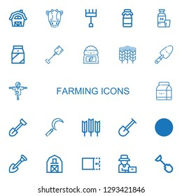 Editable 22 farming icons for web and mobile. Set of farming included icons line Barn, Cow, Rake, Milk, Shovel, Fertilizer, Wheat, Scarecrow, Sickle, Crop on white background