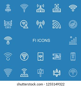 Editable 22 fi icons for web and mobile. Set of fi included icons line Signal, Hotspot, Wifi, Wifi signal on blue background