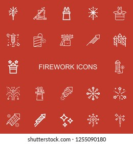 Editable 22 firework icons for web and mobile. Set of firework included icons line Sparkler, Magic, Fireworks, Petard, Shines on red background