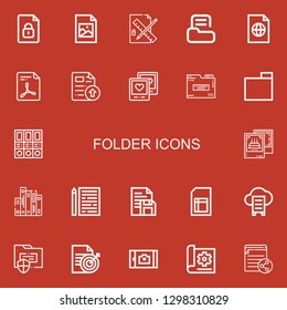 Editable 22 folder icons for web and mobile. Set of folder included icons line File, Jpeg, Edit tools, Folder, Picture, Folders, Pictures, Sheet, Document, Cloud data on red background