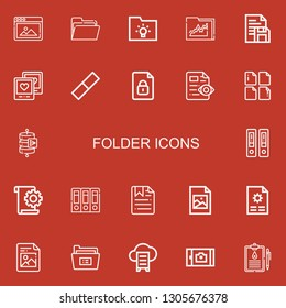 Editable 22 folder icons for web and mobile. Set of folder included icons line Picture, Folder, Document, Rubber, File, Send data, Documentation, Archives, Jpeg on red background
