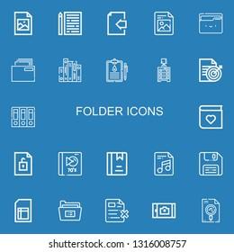 Editable 22 folder icons for web and mobile. Set of folder included icons line Jpeg, Sheet, Document, File, Folder, Medical history, Drawer, Archives, Photo album on blue background