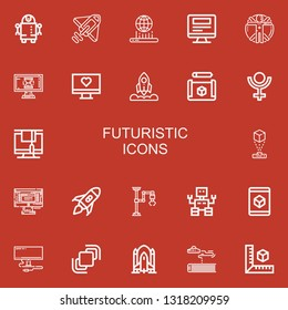 Editable 22 futuristic icons for web and mobile. Set of futuristic included icons line Robot, Rocket, Hologram, Monitor, Transhumanism, Cube, Pluto, Rocket launch on red background