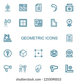 Editable 22 geometric icons for web and mobile. Set of geometric included icons line Webcam, Pattern, Prescription, Return, Cube, Cynicism, Border, d, Report on white background