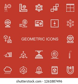 Editable 22 geometric icons for web and mobile. Set of geometric included icons line Cynicism, Cube, Mosaic, Border, Webcam, Cylinder, d, Download, Molecule on red background