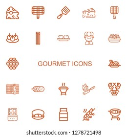 Editable 22 gourmet icons for web and mobile. Set of gourmet included icons line Cheese, Grill, Spatula, Bitterballen, Churros, Croquette, Chef, Takoyaki, Caviar on white background