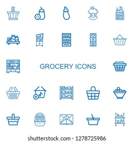 Editable 22 grocery icons for web and mobile. Set of grocery included icons line Basket, Aubergine, Bitten apple, Clerk, Shelf, Shelves, Fruit bowl, Section on white background
