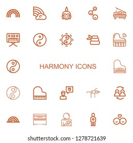 Editable 22 harmony icons for web and mobile. Set of harmony included icons line Rainbow, Buddha, Friends, Piano, Yin yang, Taoism, Zen, Friend, Yoga on white background