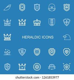 Editable 22 heraldic icons for web and mobile. Set of heraldic included icons line Iberia, Shield, Police badge, Eagle, Crown, Raven on blue background