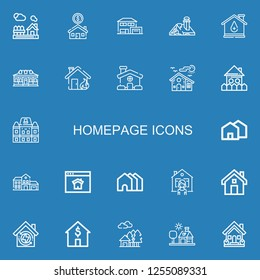 Editable 22 homepage icons for web and mobile. Set of homepage included icons line House, Houses, Homepage on blue background