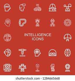 Editable 22 intelligence icons for web and mobile. Set of intelligence included icons line Mind, Neural, Brain, Mindfulness, Circuit, Artificial intelligence on red background