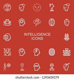 Editable 22 intelligence icons for web and mobile. Set of intelligence included icons line Transhumanism, Mind, Smart, Industrial robot, Robot, Retrocognition on red background