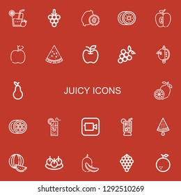 Editable 22 juicy icons for web and mobile. Set of juicy included icons line Lemonade, Grapes, Kiwi, Apple, Watermelon, Pear, Lemon, Bitterballen, Melon, Orange on red background